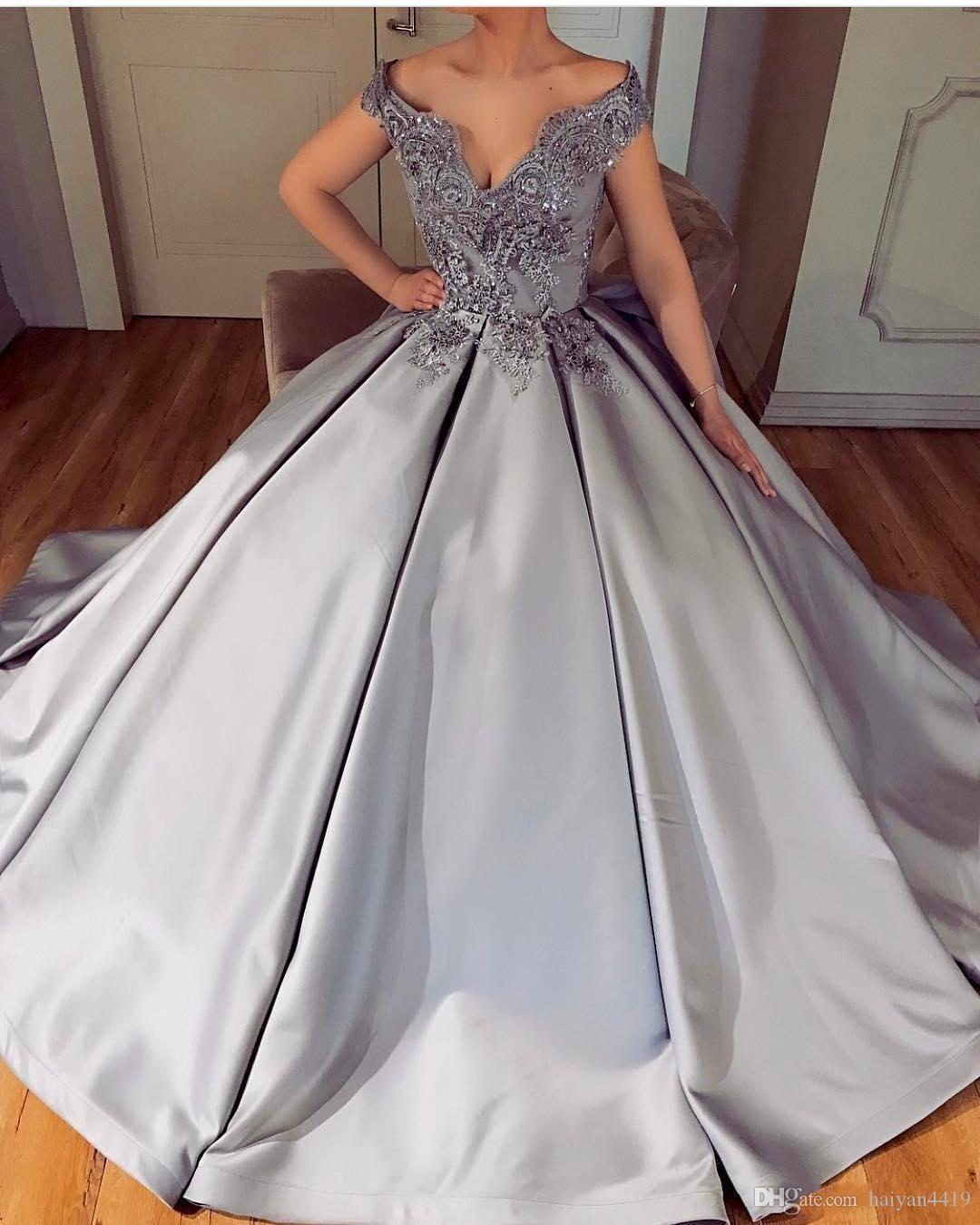 36af655467d7 2018 Silver Luxury Prom Dresses V Neck 3D Floral Lace Appliques Beaded  Backless Off Shoulder Sweep Train Ball Gown Satin Evening Party Gowns Camo  Prom Dress ...
