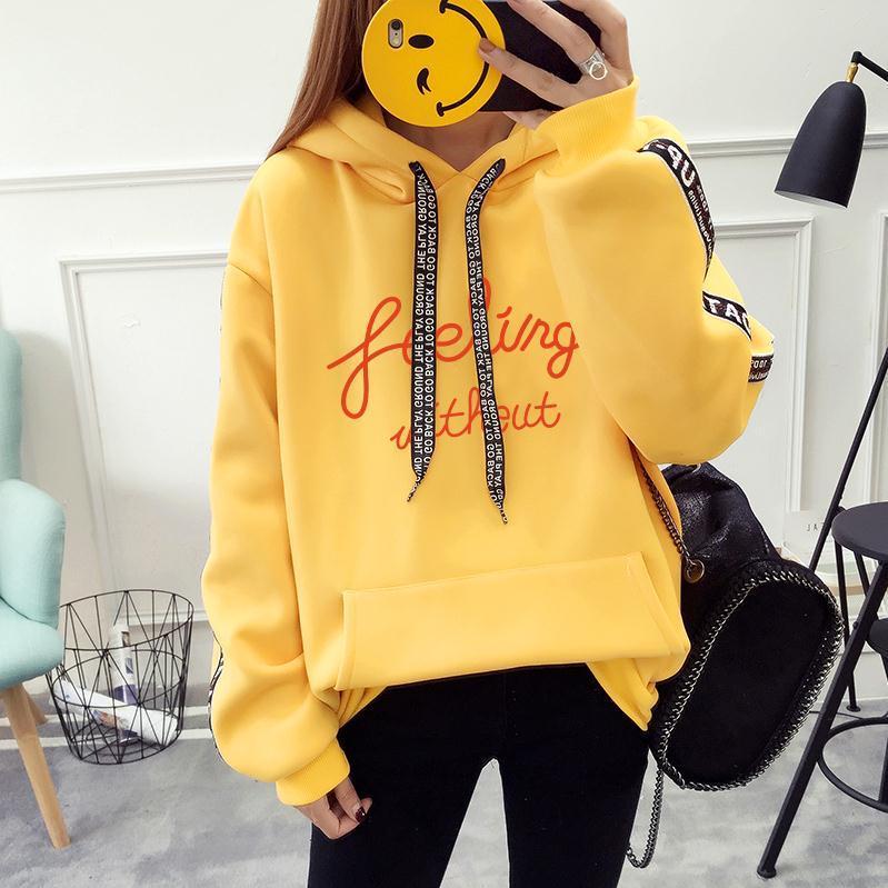 05545ad80 Fleece Thicken Hooded Women Sweatshirts Plus Size Pullover Warm Cotton  Sportswear Front Pocket Letters Hoodies Sweatshirts UK 2019 From Cfendou,  ...