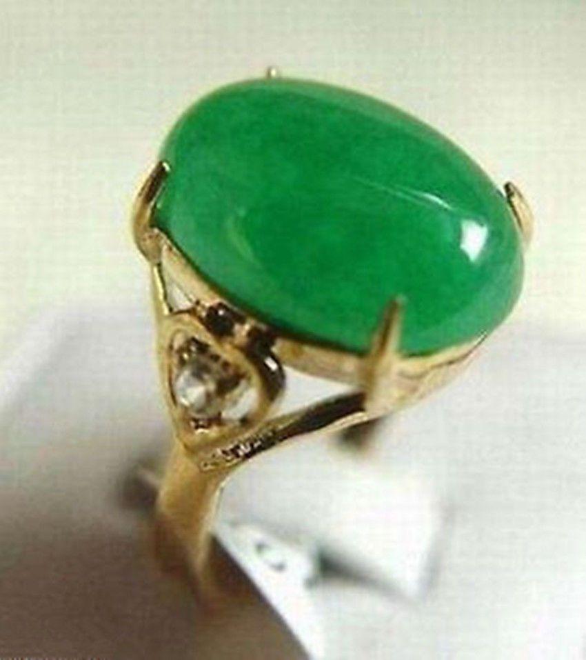 Toptan ucuz güzel kadın moda hakiki yeşil yeşim yüzük boyutu: 6-8