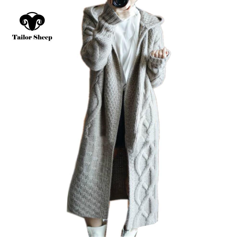 Compre Tailor Oveja 2018 Invierno Nueva Capa Con Capucha Mujer Rebeca Suelta  Hembra Larga Suéter De Cachemira Gruesa Chaqueta De Punto A  113.67 Del  Pingpo ... 0ce4dd474aa3