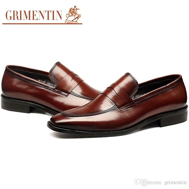 GRIMENTIN Genuine leather Men Loafers Italian Fashion Black Brown Mens Dress Shoes Pointed Toe Slip On Formal Business Mens Shoes YJ