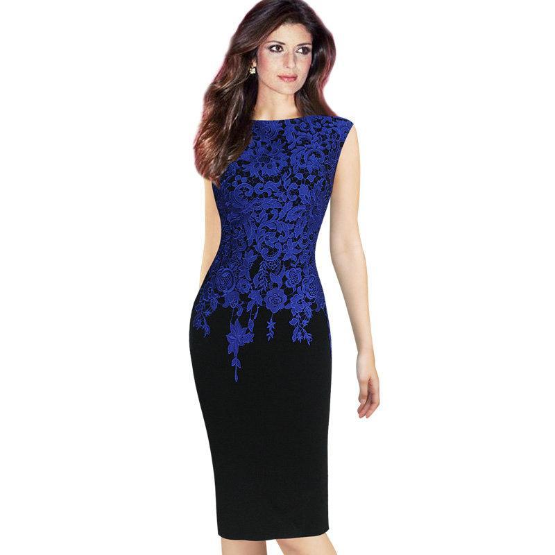 7d9cc259c Compre Lcw Nuevo Diseño Para Mujer Elegante Vintage Floral Crochet  Encantador Trabajo De Oficina Informal De Trabajo Fiesta De Noche Vaina Bodycon  Lápiz ...