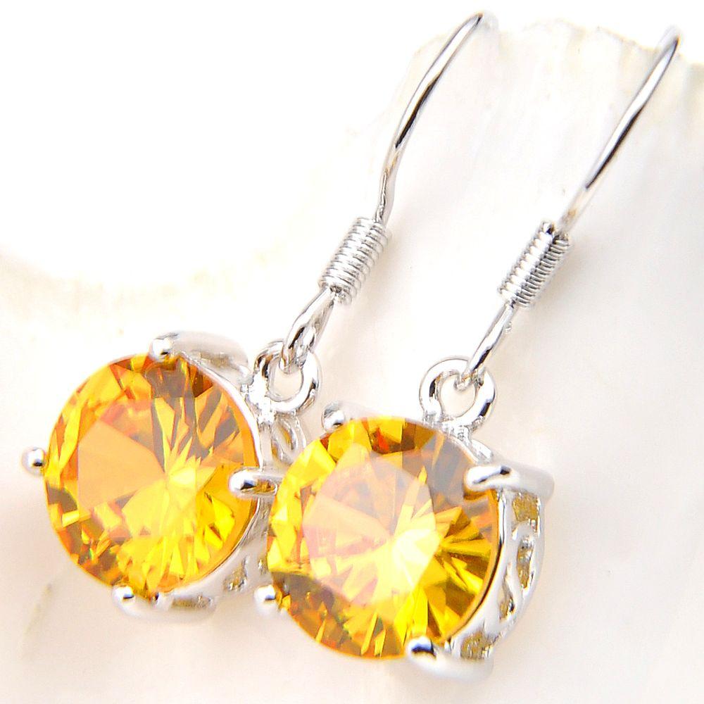 LuckyShine Dernières Fine Design Bijoux ronde jaune citrine Gmestone Platinum femmes de soirée de mariage Charm Dangle Boucles d'oreilles