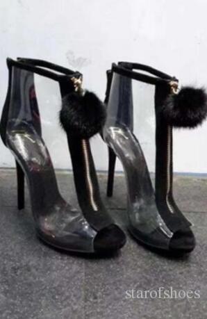 2018 stivali in PVC tacco sottile stivaletti estate partito scarpe peep toe zip frontale moda donna pom pom mujer botas