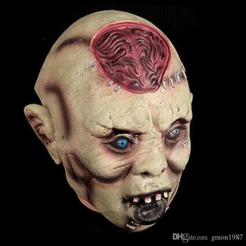 Latex Halloween Costume Masque Zombie Effrayant Déguisement Costume Adulte Accessoire Parti Cosplay Horreur Visage Masque Effrayant Fantôme extraterrestre visage
