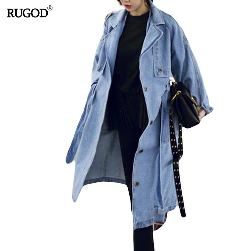 RUGOD Spring Autumn Women Casual Loose X-Long Denim Trench Coat Female Denim Overalls Plus Size Adjustable Waist Denim Coat D1892904