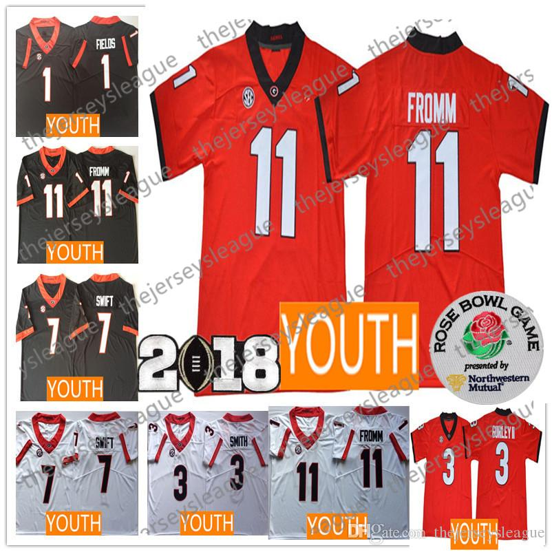 2019 Youth Georgia Bulldogs  11 Jake Fromm 1 Fields 7 DAndre Swift 3 Gurley  II Stitched Black Red White 2018 NCAA College Football Jerseys From ... db12285e3