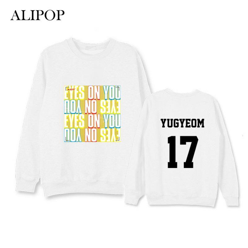 ALIPOP Kpop GOT7 EYES ON YOU Album Hoodie Hip Hop Casual Loose Hoodies  Clothes Pullover Printed Long Sleeve Sweatshirts WY661