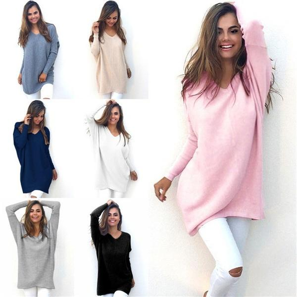 3d5e24e8ff 2019 Winter Womens V Neck Chunky Knitted Sweater Oversized Baggy Pullover  Jumper Tops Warm Outwear From Hushhhh