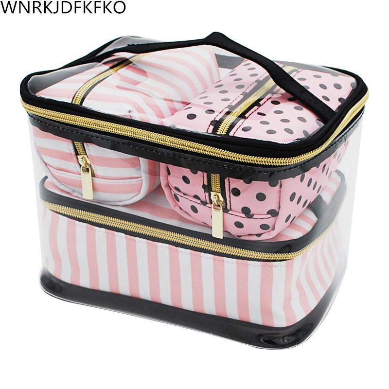 8af48678a53b Transparent PVC Cosmetic Bag Travel Toilet Bag Four-Piece Portable ...