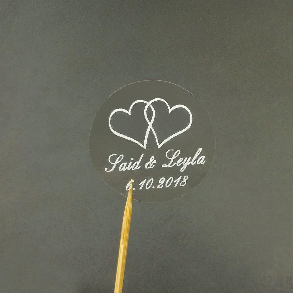 Party Diy Dekorationen Personalisierte Benutzerdefinierte Name Herz Hochzeit Runde Transparente Weiße Aufkleber Umschlag Dichtungen 50 Stücke Party