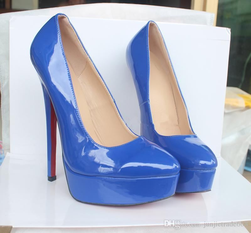 New 18cm Thin High-heeled Platform Thick-soled Large yard High-heeled shoes Married Four seasons Shoes