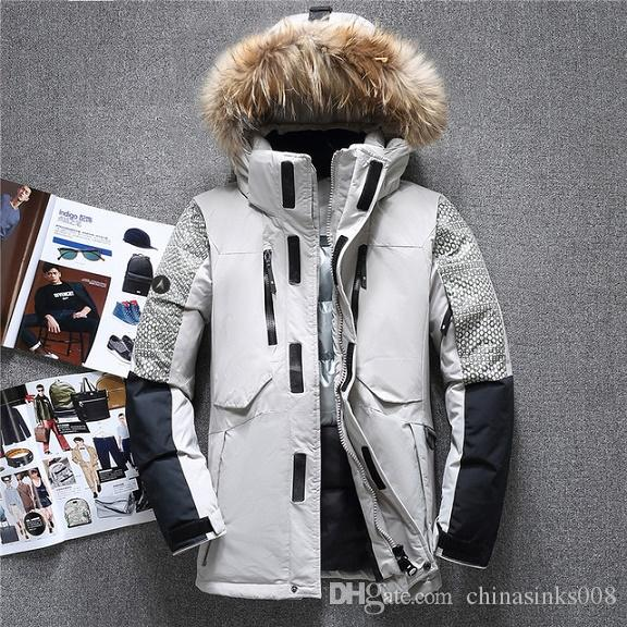 26ff107a877 2018 Winter Thick Male Duck Down Jacket Men Fashion Hooded Down Coat  Patchwork Windproof Waterproof Parka Man -20 Degree Male Duck Down Jacket  Online with ...
