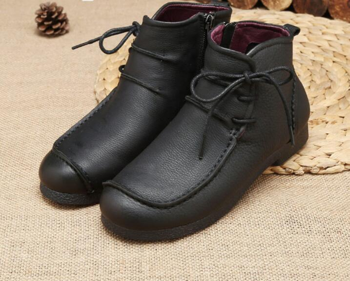 996453bcb6 Compre Novos Tornozelo Mulheres Botas De Couro Genuíno Moda Retro Sapatos  Artesanais Comforable Sapatos Calçados Femininos Flats De Youyoufashion