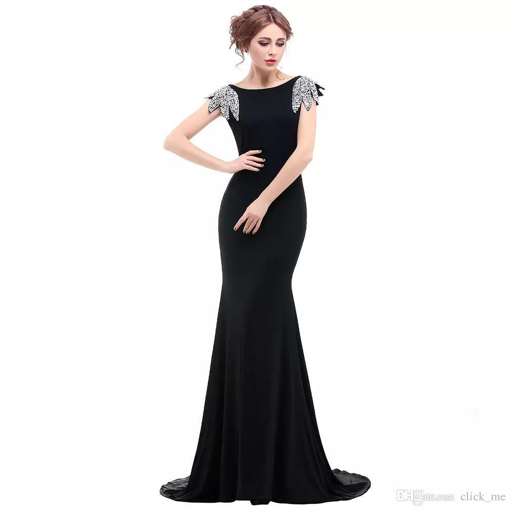 Czarne Syrenki Suknie Wieczorowe Bateau Capped Cekiny Koraliki Bacless 2018 Prom Dresses Długie prawdziwe obrazy Tanie Dresses Vestidos de Fiesta