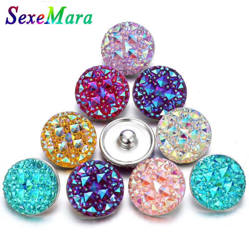 10Pcs/lot Resin Snap Buttons Jewelry Shinny Round 18MM Snap Buttons fit Silver Leather Bracelet Bangles Necklace DIY Charms