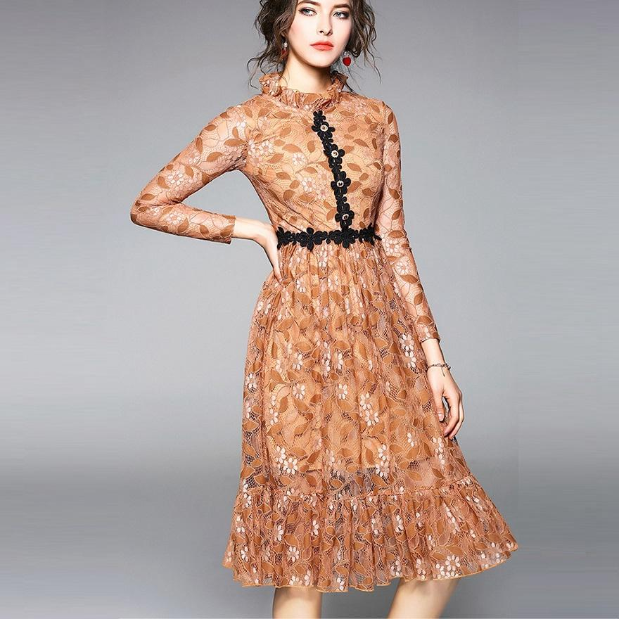 H Cute Party Dress Vintage Lace Midi Dress 2018 Women Clothing Retro  Lacework Splicing Brand High Quality Europe America S From Piaocloth c4e98212a3aa