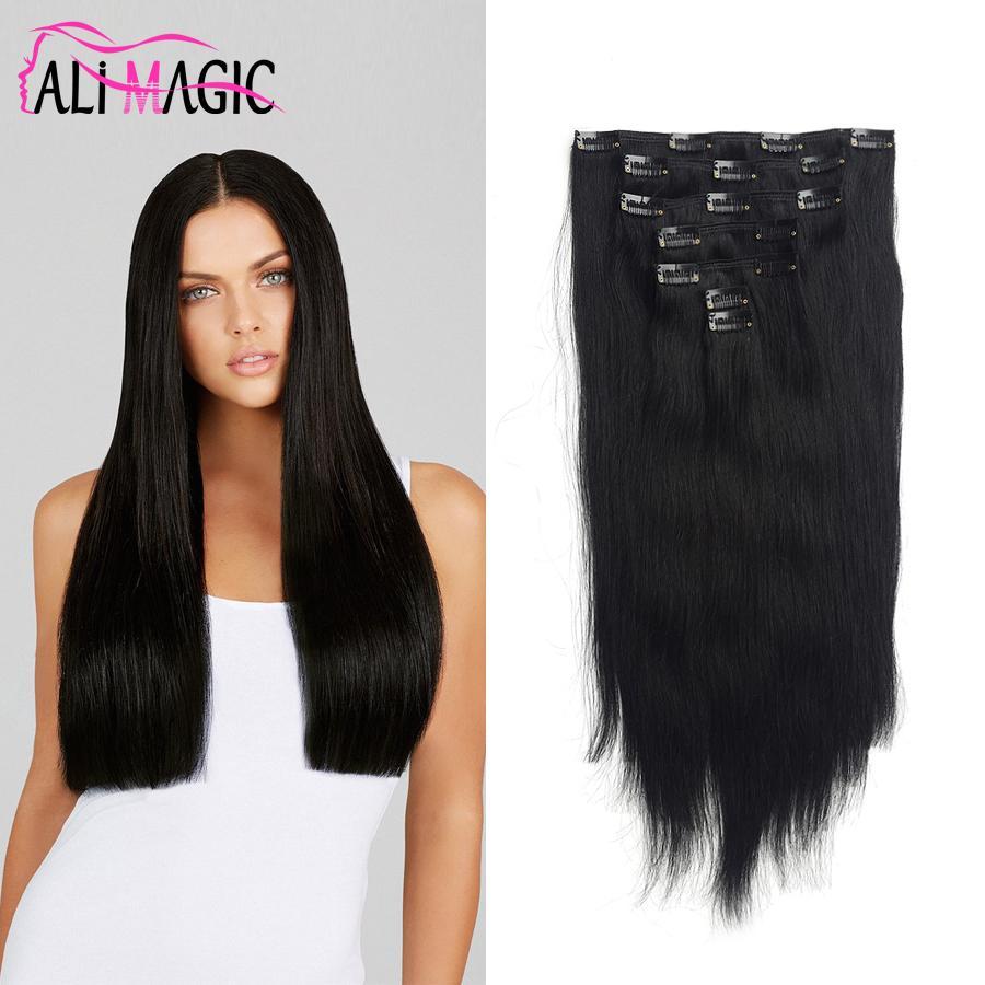 Clip Curly Hair Extensionsclip in echten menschlichen Haarverlängerungen Gerade hellbraun # 6 7 Stück 100 Gramm / 2,82oz 20 Farben optional