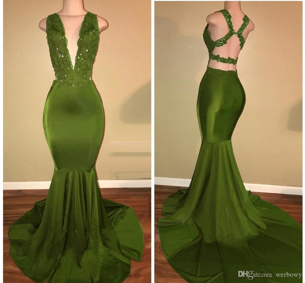 African Olive Green Mermaid Prom Dresses Satin Beaded Lace Appliqued Sweep Train Arabic Evening Party Gowns Evening Dresses HY212