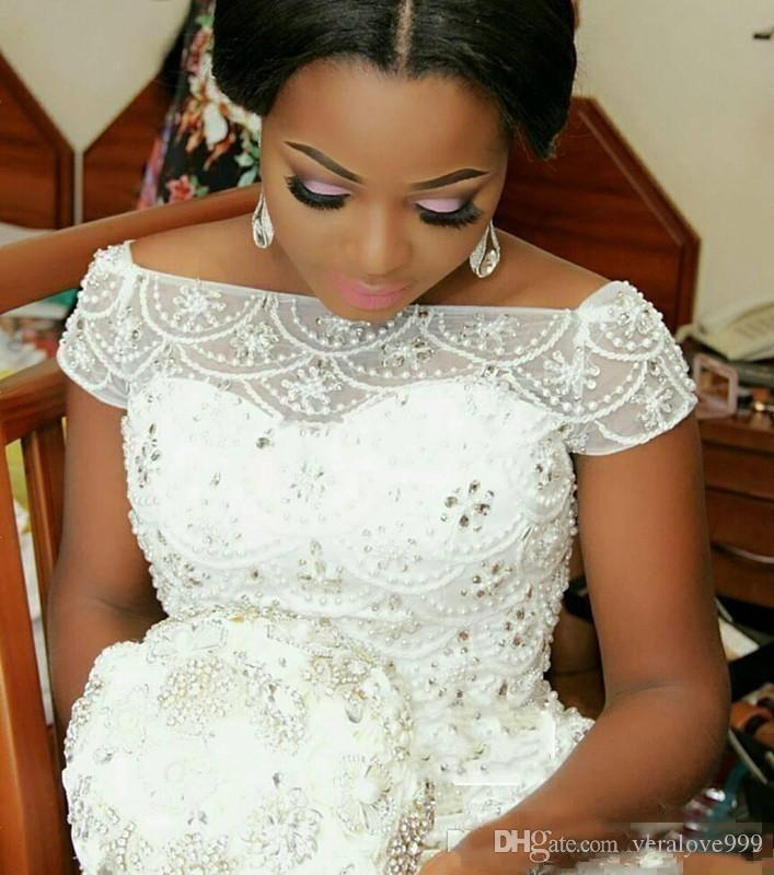 Арабский Нигерийский Плюс Размер Свадебные Платья Бисером Многоуровневые Короткие Рукава Длинные Часовня Поезд Русалка Свадебные Платья Пользовательские Свадьба Одежда