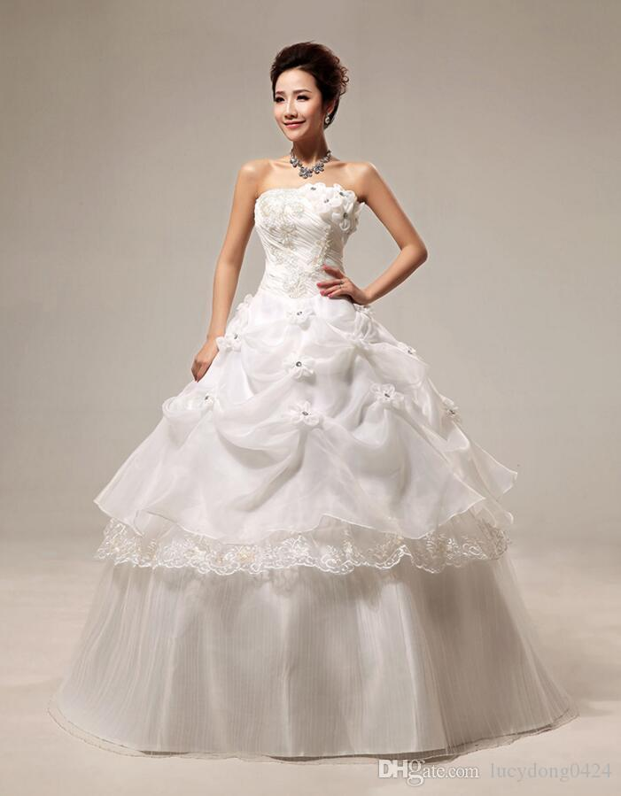 Ball Gown Wedding Dress Strapless Tiered Skirts Floor-length Organza Tulle with Appliques Beading 3 Colors With Petticoat