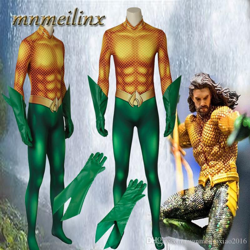 a81b13ecd0d4 Aquaman Cosplay Arthur Aquaman Curry Costume Jumpsuit Gloves 3D Printed Zentai  Suit Halloween Superhero Costume Group Halloween Costumes Kids Costumes  From ...