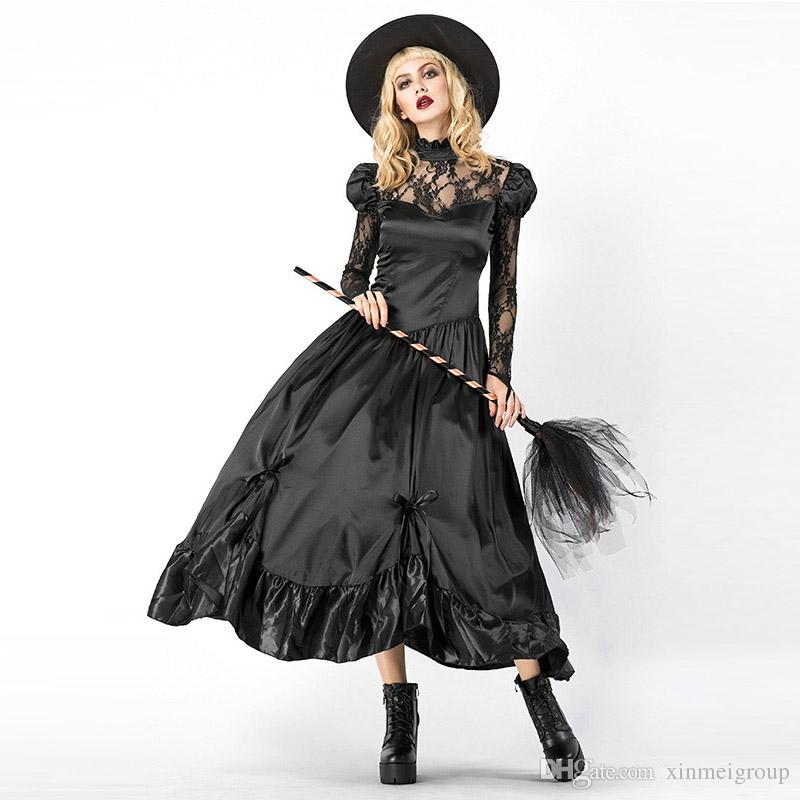 a9ecd39e4de Sexy Black Witch Costume Party Adult Magic Moment Cosplay Halloween Costumes  For Women Role Playing Long Dress W158854 Cute Group Costumes For Girls ...