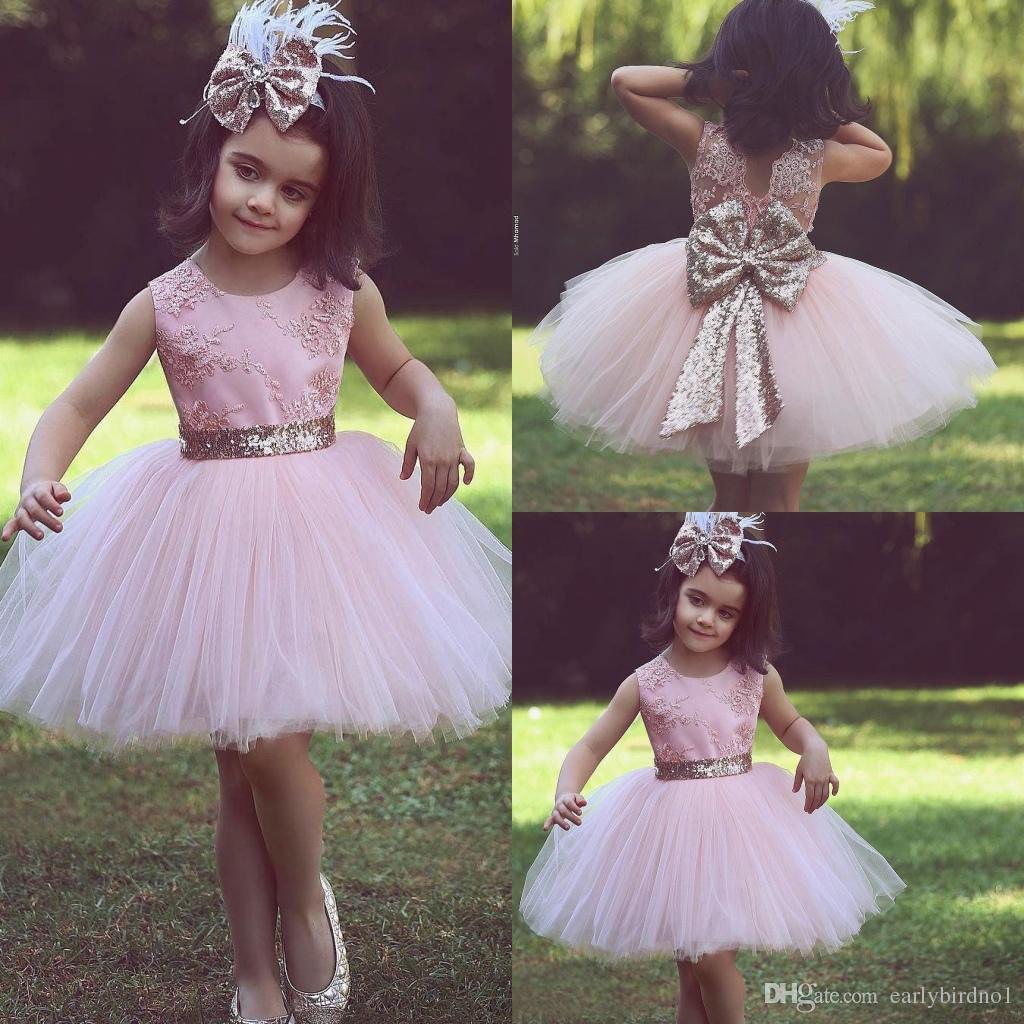 eba6dea41 2018 New Arrival Princess Pink Sequin Flower Girls Dresses Scoop ...