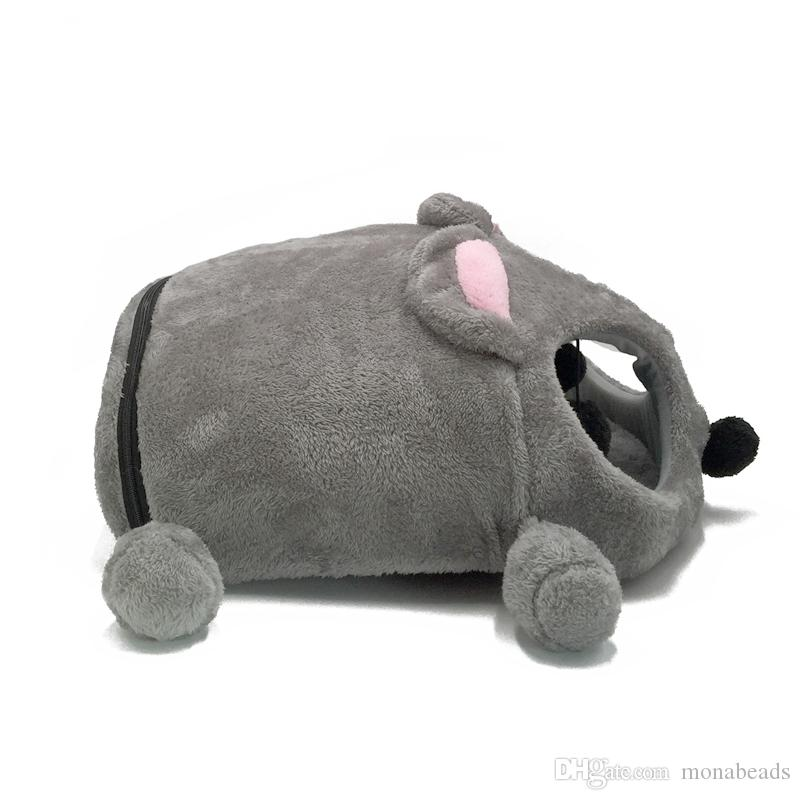 Cama con forma de ratón para perros pequeños Gatos Cama cueva Gris Cojín extraíble Ratón impermeable Casa de gato