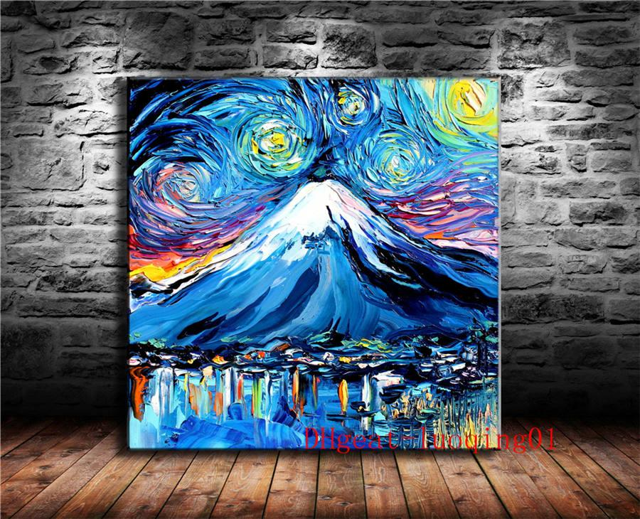 2019 Fujiyama Starry Night Painting Canvas Pieces Home Decor HD