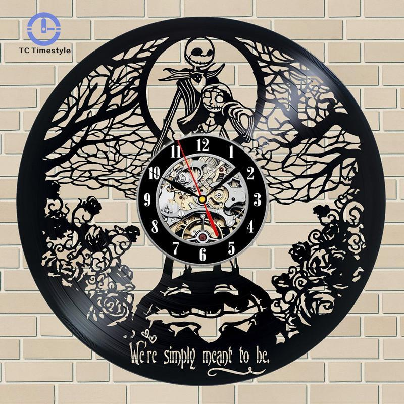 the nightmare before christmas gift vinyl record wall clock fan black room idea home decoration accessories modern digital clock for wall digital clock wall