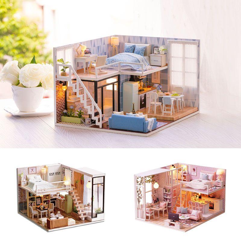 Compre cutebee casa de mu ecas miniatura casa de mu ecas diy con muebles miniatura casa de - Casas en miniatura de madera ...