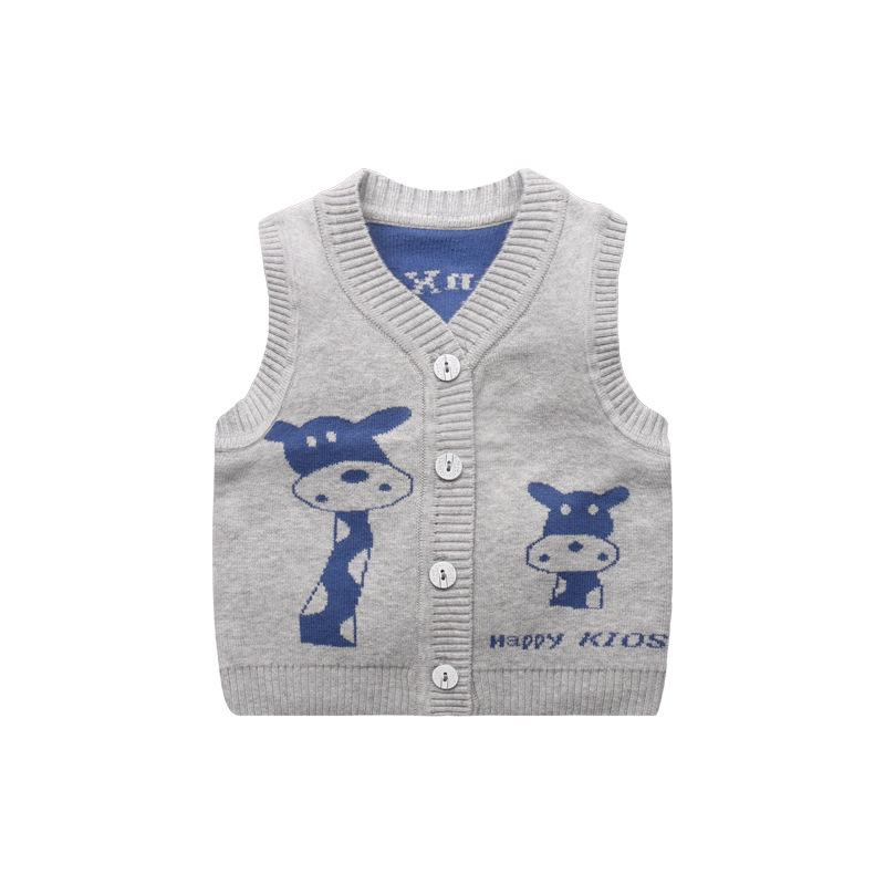 aa27c355e8ed Giraffe Cute Baby Sweater Vest V Neck Baby Boys Knitted Vest ...
