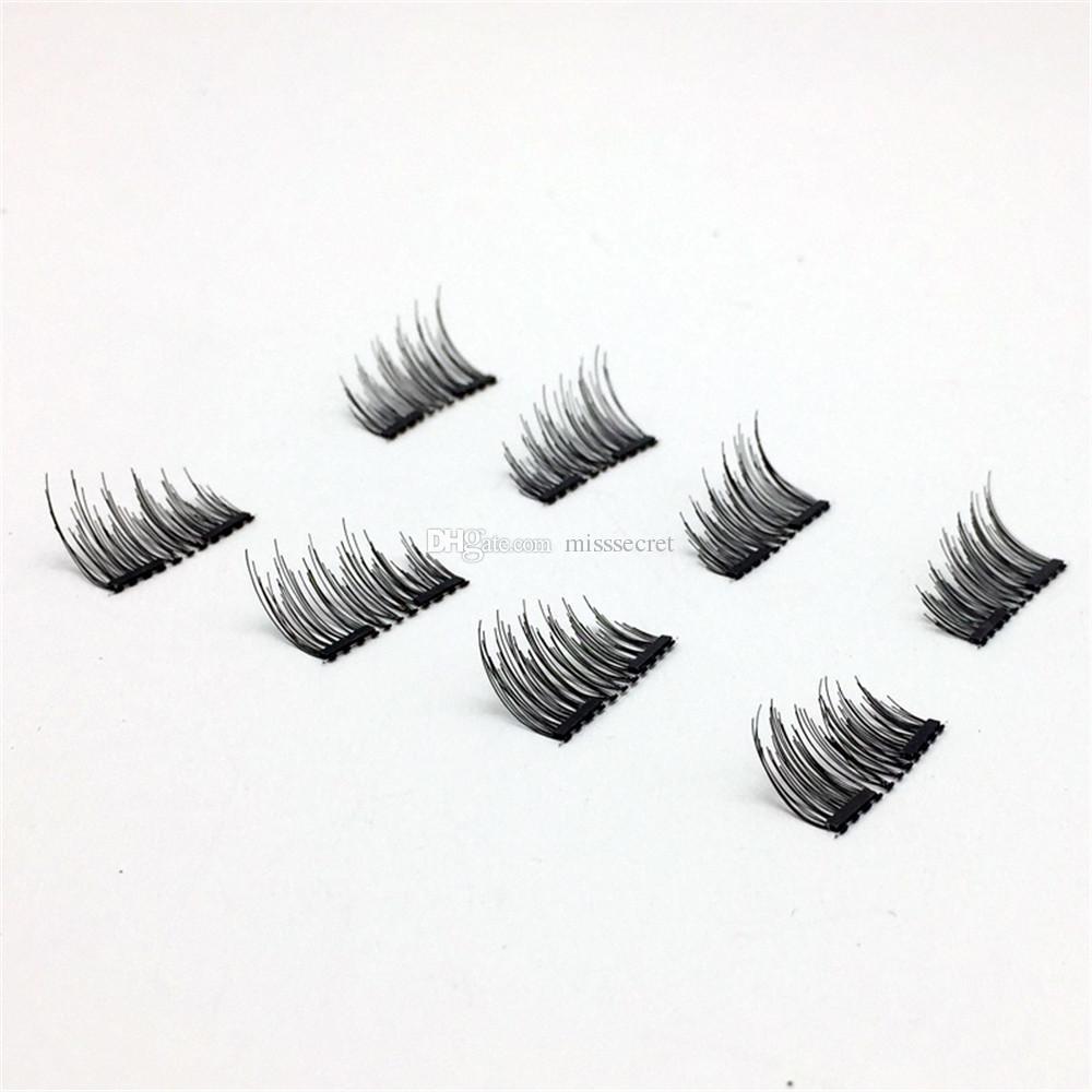Fake Eyelash Magnetic Eye Lashes Mink Eyelashes With Tweezers Invisible Magnet Lashes 2 Magnets Eyelashes 3D False Eyelashes