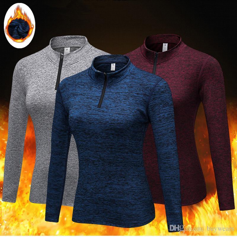 Thermal Fleece Yoga Shirt Women Gym Sports Fitness Women Running ... e9423d275897f