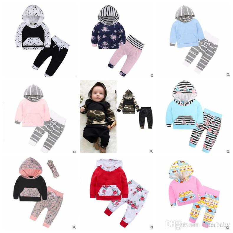 2225014f0 2019 Christmas Baby Clothing Boys Striped Hoodie Set Girls Floral Print  Suit Long Sleeve Tops Pants Outfits Kids Designer Clothes ZYL1 4 From  Interbaby, ...