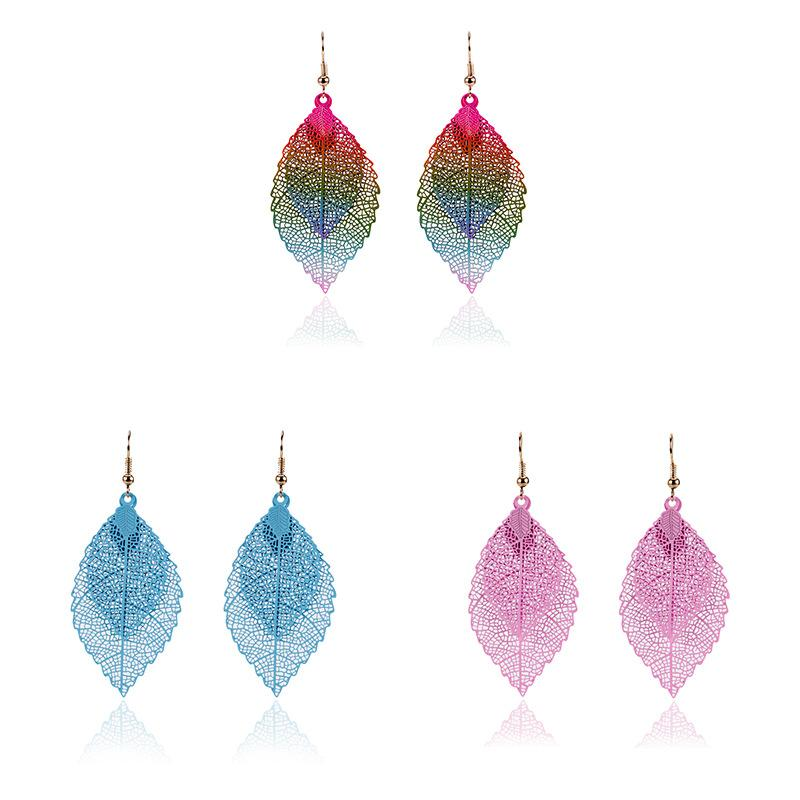 Boho Ethnic Style Women Fashion Double Color Leaf Dangle Earrings Vintage Leaves Long Tassels Drop Earring Women Jewelry Gift Free DHL H124R