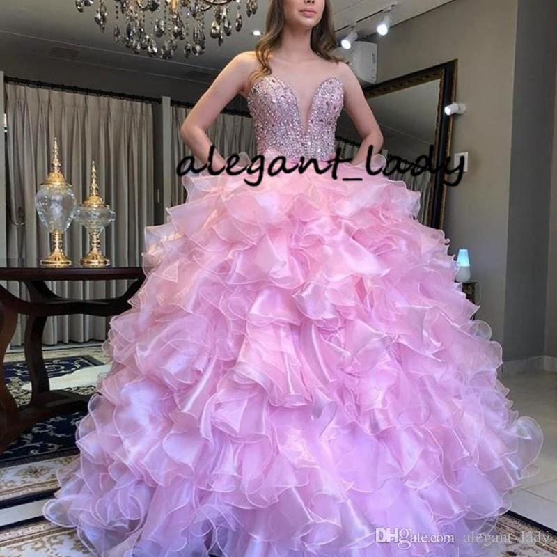 c529d6090c4 Gorgeous Ruffles Tiered Quinceanera Dresses Crystal Beading Sweetheart  Sleeveless Ball Gown Prom Dress Organza Party Dress Evening Gowns Floor  Length ...