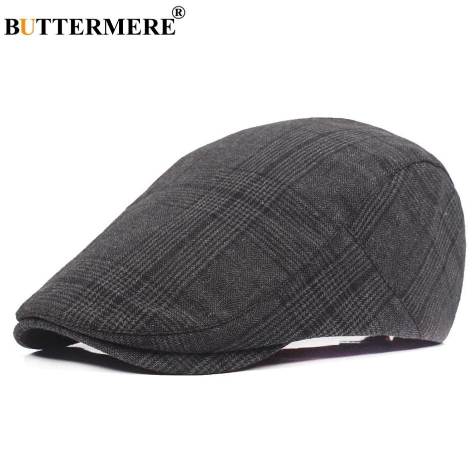 fc1dbe0f5167e BUTTERMERE Cotton Beret Cap For Men Checkered Black Ivy Flat Caps ...