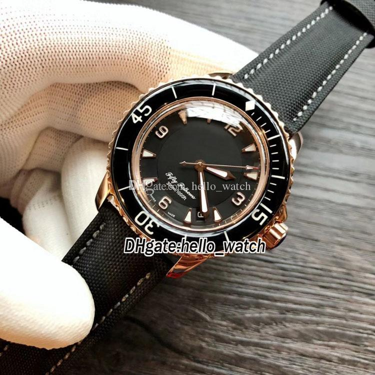 Fifty Fathoms 50 Fathoms 5015-3630-52 Japan Miyota 8215 Automatic Black Dial Mens Watch Rose Gold Case Leather Strap Sport Gents Watches