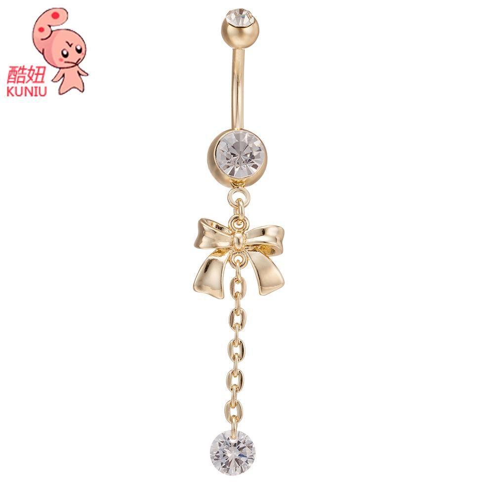 KUNIU New Fashion Woman's Bow tie Belly Button Rings Bar Surgical Piercing Sexy Body Jewelry for Women Navel Piercing P0119