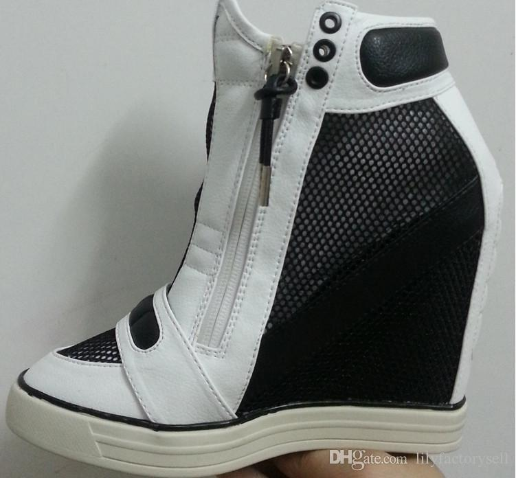 997b11b067b8 Hook Loop Mesh Height Increasing Shoes Women Black-White Platform High Heel  Wedges Sneakers Zip Up Leather Women s Casual Shoes Sneakers Women  Zapatillas ...