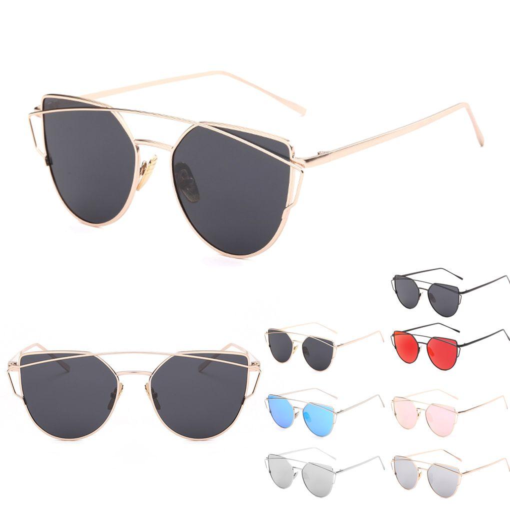fb9d8b757a Designer Classic Pretty For Women Cat Eye Sunglasses Twin Beams Sunglass  Coating Mirror Flat Panel Lens Lunette De Soleil Discount Sunglasses Sports  ...