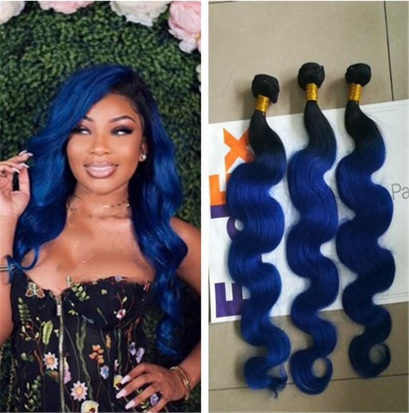 Ombre Hair Weave Body Wave Hair Weaves Blue Indian Peruvian