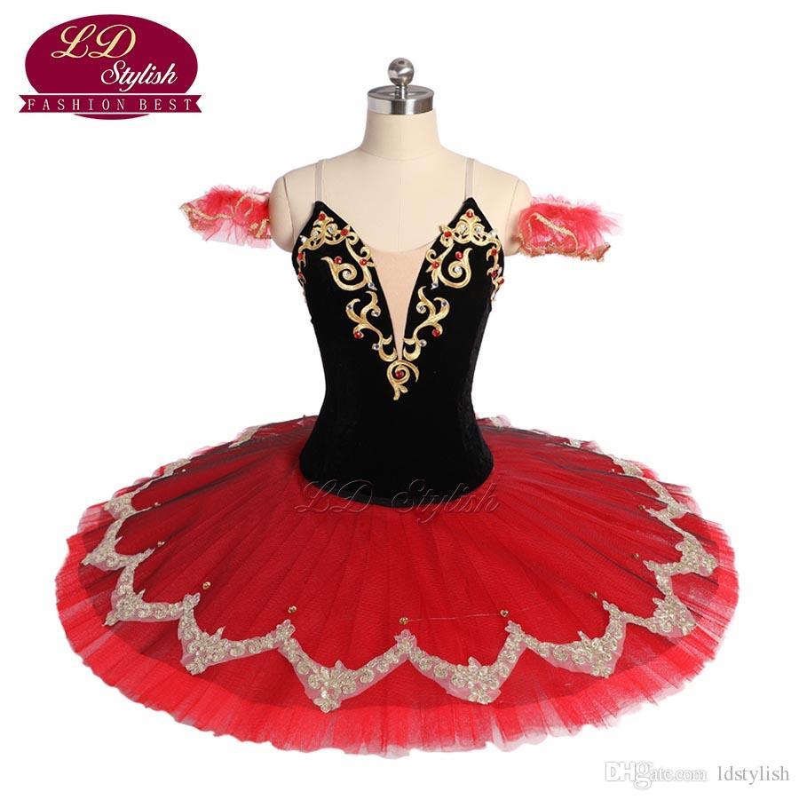 a00a81e82966 Adult Black Red Ballet Tutu Stage Wear Swan Laket Ballet Dance Performance  Competition Apperal Women Ballet Dresses