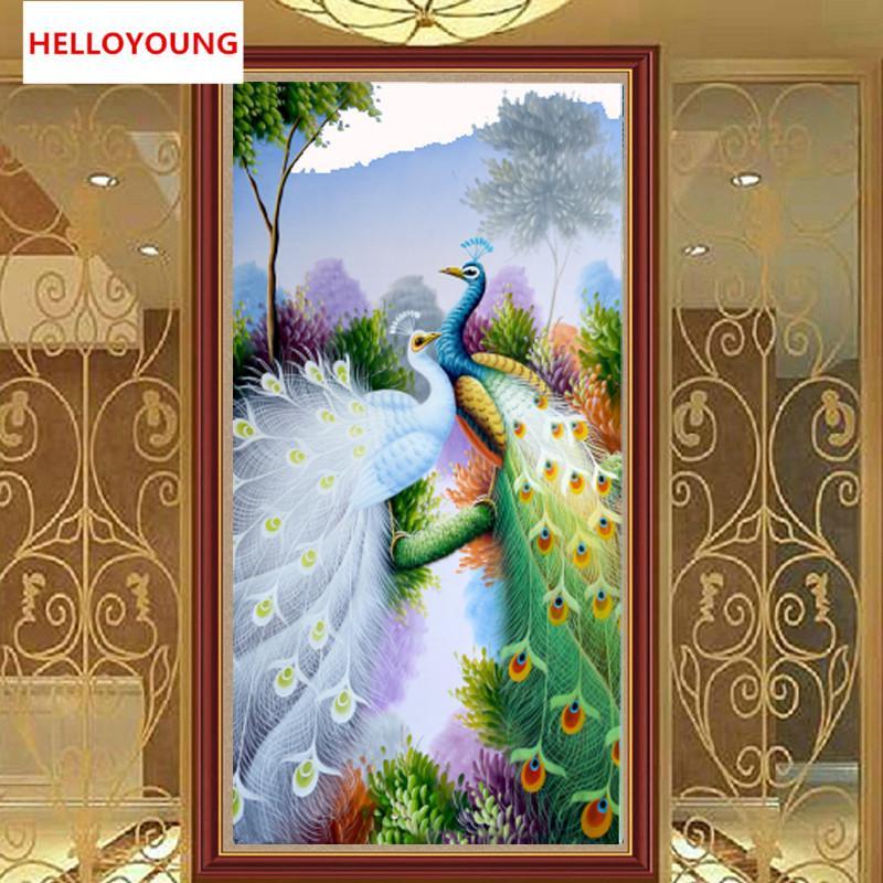 Satın Al Diy 5d Elmas Nakış Güzel Tavus Kuşu Yuvarlak Elmas Boyama