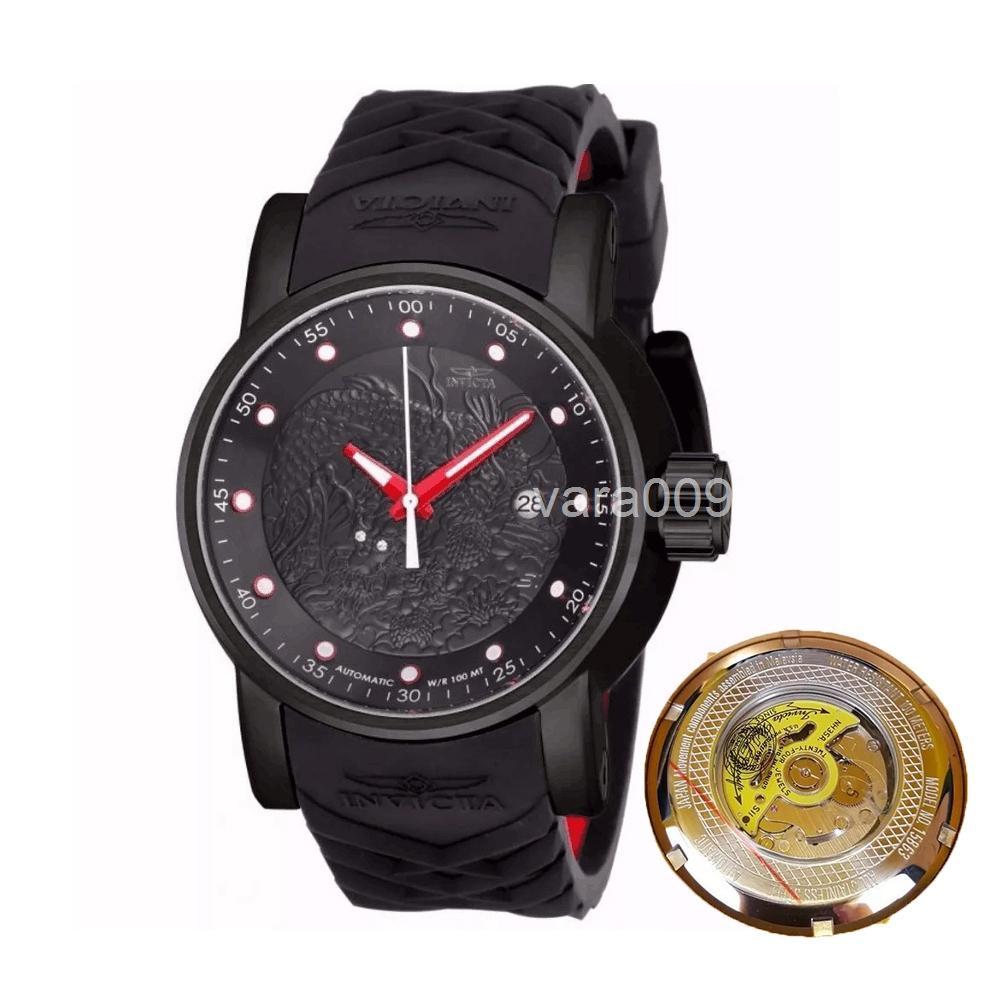 96cb7ea5a22 Relógio Invicta Yakuza Rally S1 Dragon Men Automatic Mechanical Watches  18215 Design Dial Auto Date Rubber Strap Male Watch Relogios Designer  Watches Pocket ...