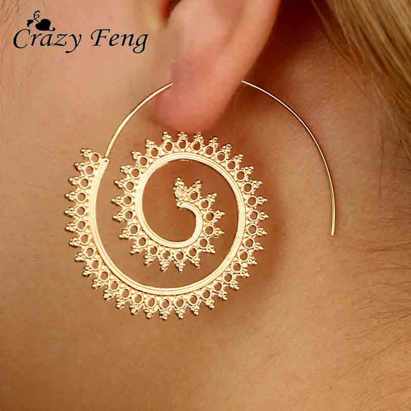 0f8eb3ab3 2019 Crazy Feng Gold Silver Color Geometric Swirl Big Hoop Earring For Women  Brincos 2017 Fashion Steampunk Party Jewelry Accesories From Herberta, ...