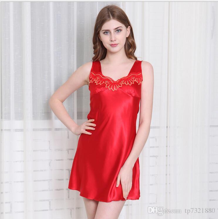 85553a6abe Solid Pink Sexy Satin Night Robe With Belt Bathrobe Perfect Wedding ...