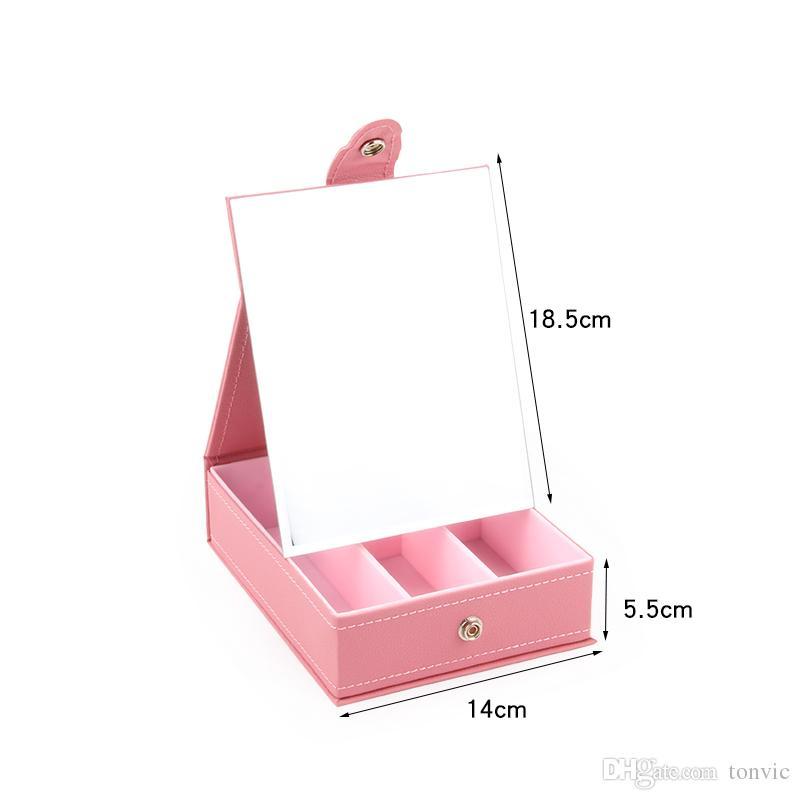 TONVIC Kunstleder Kosmetische Aufbewahrungskoffer Box Mit Spiegel Für Lippenstift Npolish Kosmetische Lagerung Schmuck Perlen Fächer